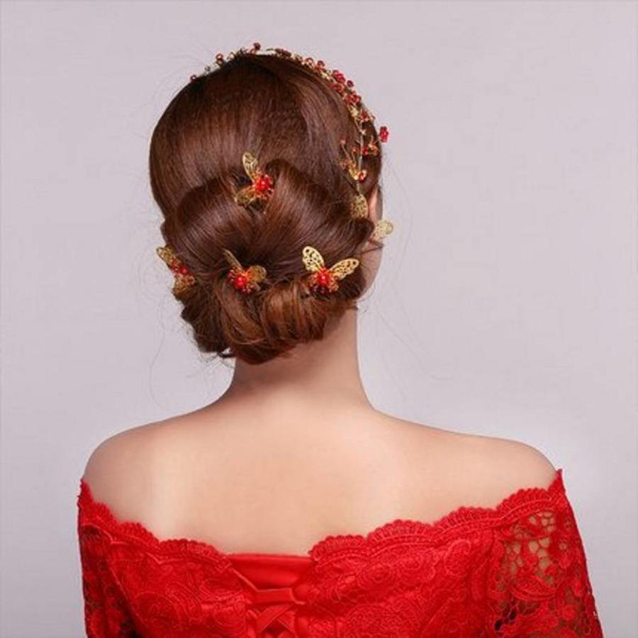 Hairpin - Goudkleurige Vlinder met Rode Parel-7