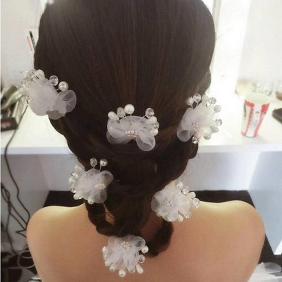 SALE - Hairpin - Elegance Flowers Strass & Pearls - 5 Stuks-5
