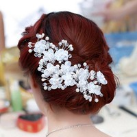 thumb-SALE - Hairpin - Elegance Flowers Strass & Pearls - 5 Stuks-1