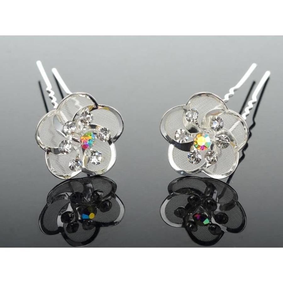 Hairpin - Zilverkleurig met Strass Kristallen-3
