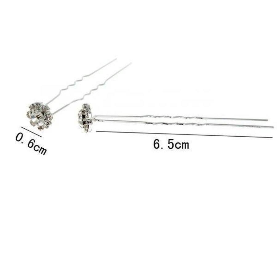 Hairpin - Fonkelende Bloem Met Strass - 5 Stuks-4