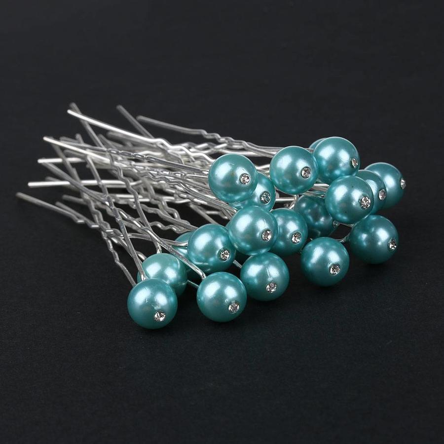 Hairpin - Parel met Diamantje Turquoise - 5 stuks-2