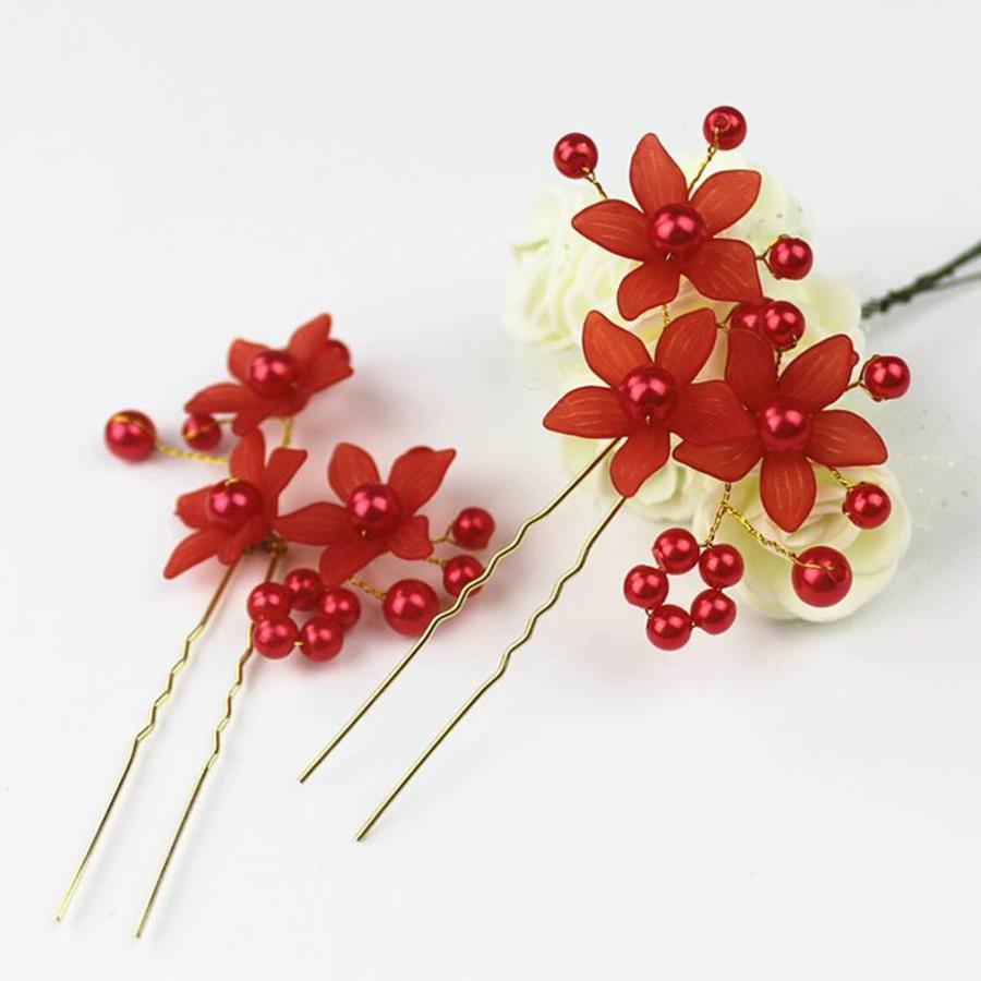 Hairpin - Bloem Met Roodkleurige Parels - 5 stuks-2