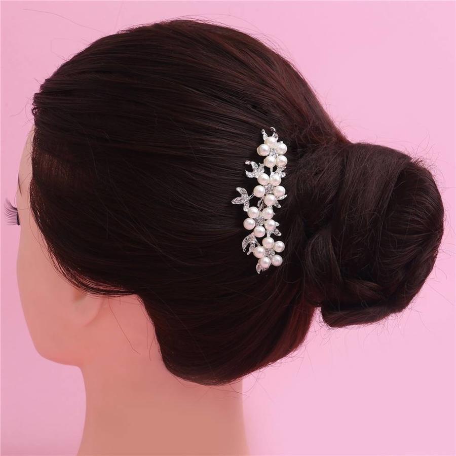 Hairpin - Bloemen met Ivoorkleurige Parels - 2 Stuks-6