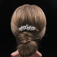 thumb-Hairpin - Bloemen met Ivoorkleurige Parels - 2 Stuks-7