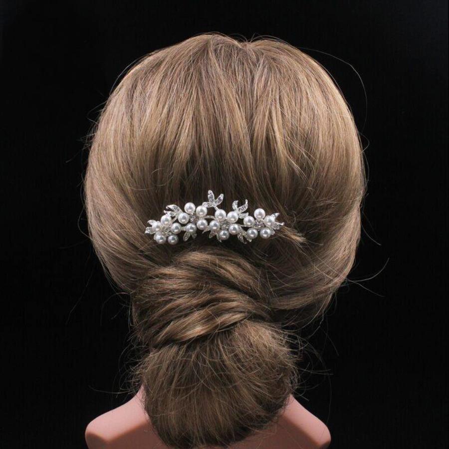 Hairpin - Bloemen met Ivoorkleurige Parels - 2 Stuks-7