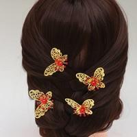 thumb-Hairpin - Goudkleurige Vlinder met Rode Parel - 5 Stuks-1