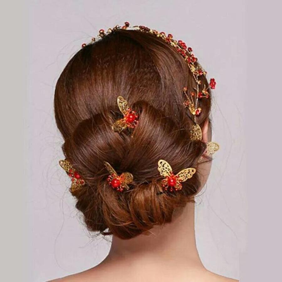 Hairpin - Goudkleurige Vlinder met Rode Parel - 5 Stuks-5