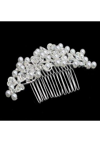 Haarkam met strass kristallen en ivoorkleurige parels