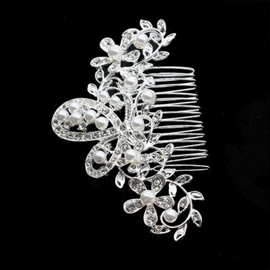 Haarkam met ivoorkleurige parels en strass kristallen-2