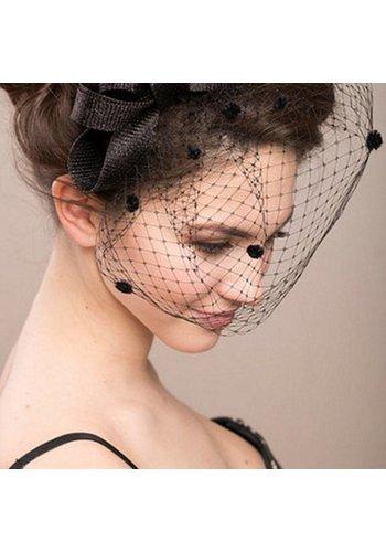 Chique Zwarte Fascinator / Birdcage Veil