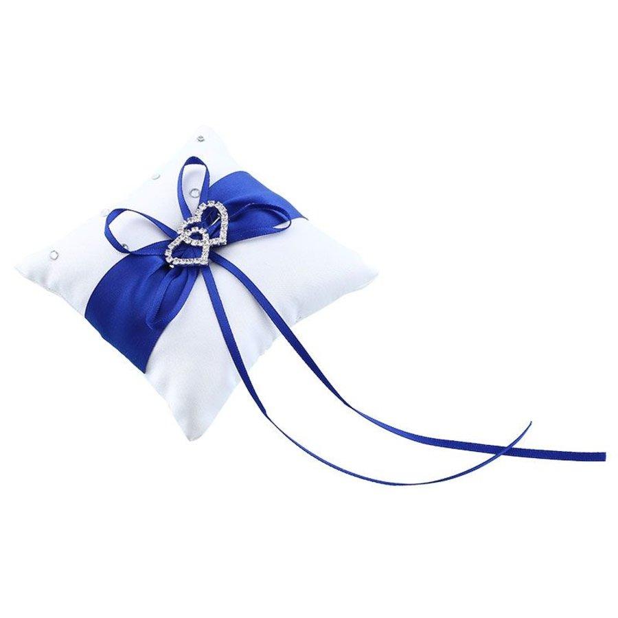 Grote Ringkussen- Ivoor - Blauw met fonkelende Hartjes-7