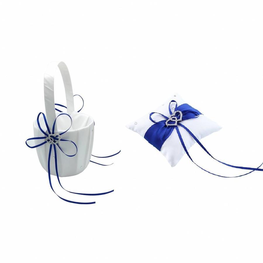 Grote Ringkussen- Ivoor - Blauw met fonkelende Hartjes-4