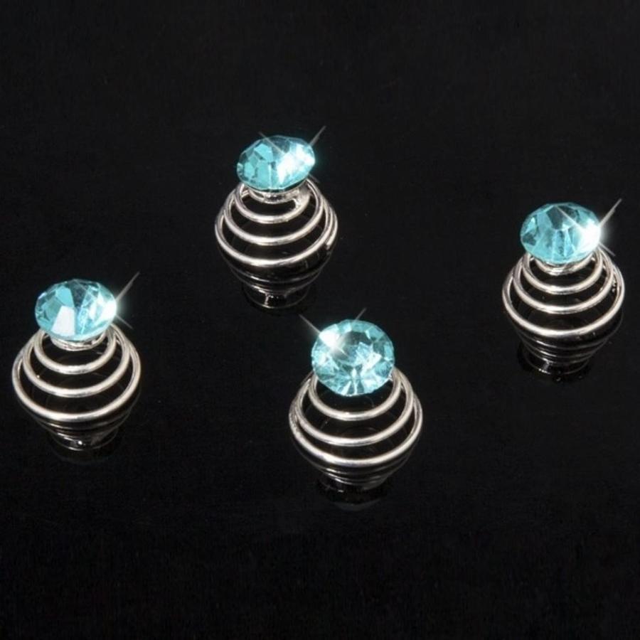 Aqua Blauwe Kristal Curlies - 6 stuks-2