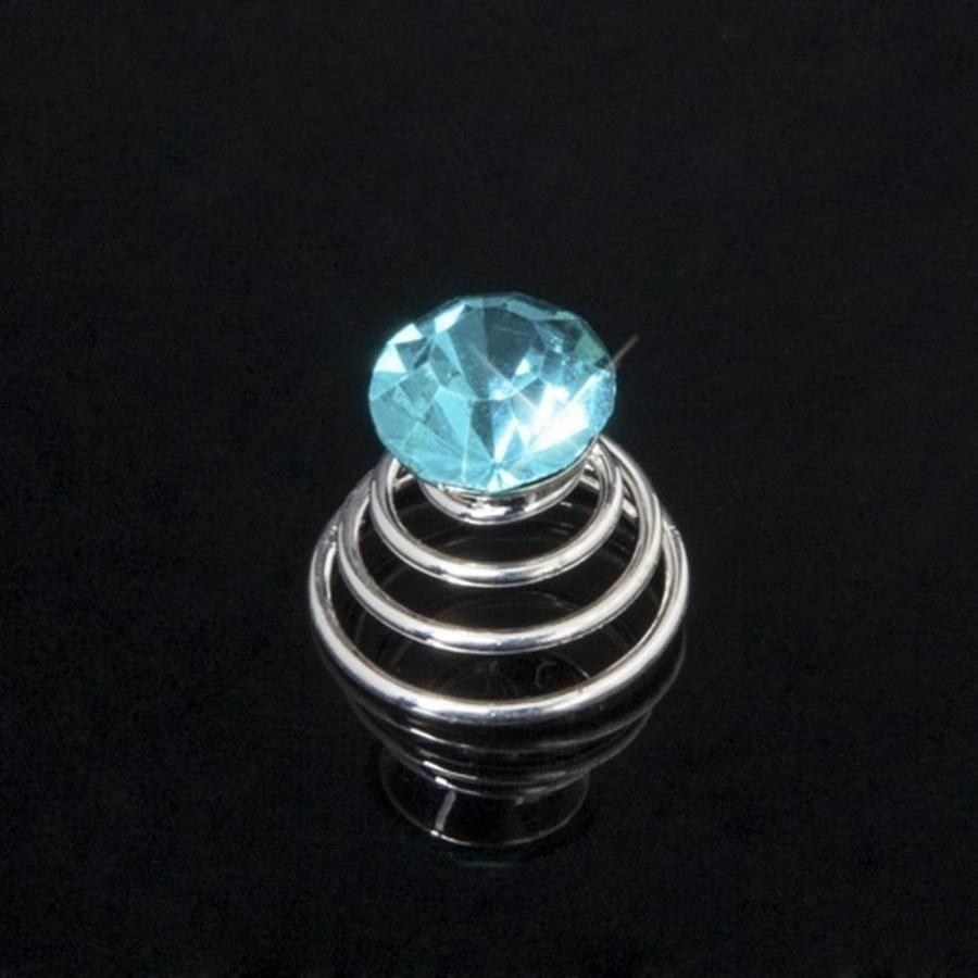 Aqua Blauwe Kristal Curlies - 6 stuks-3