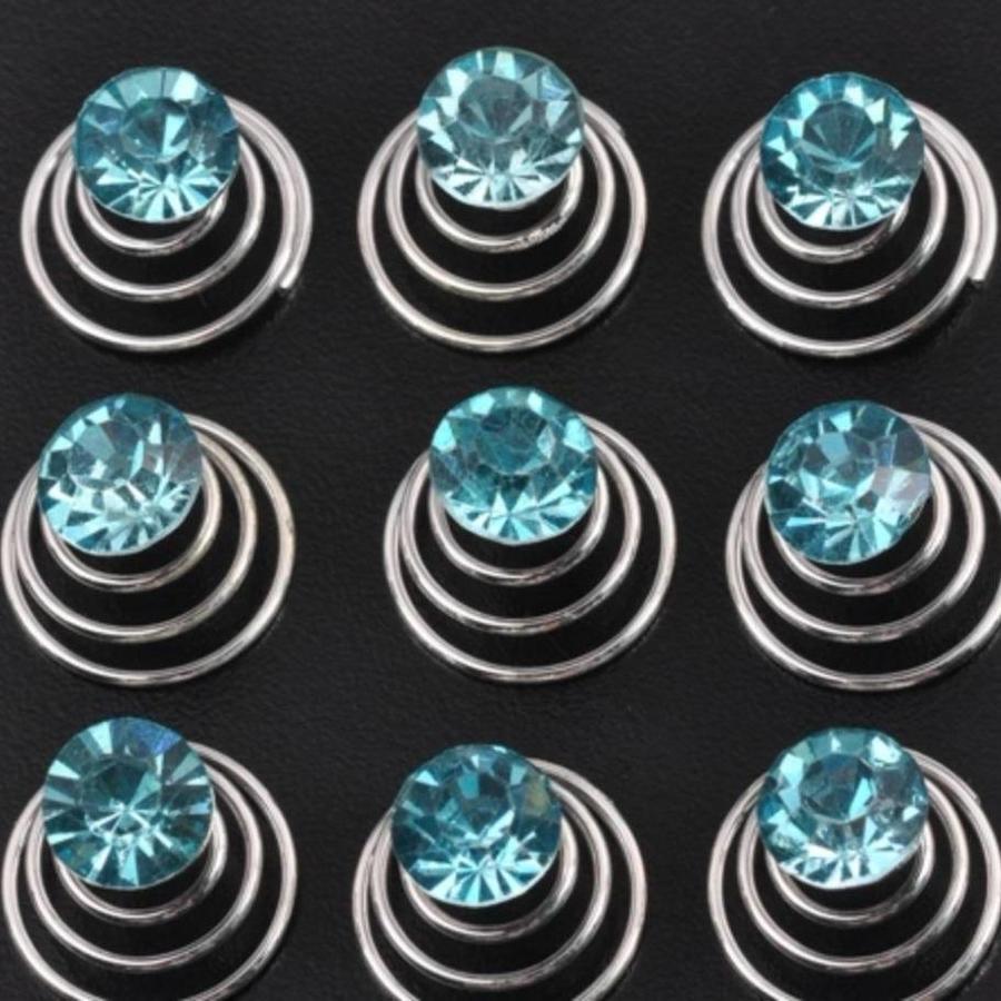 Aqua Blauwe Kristal Curlies - 6 stuks-1
