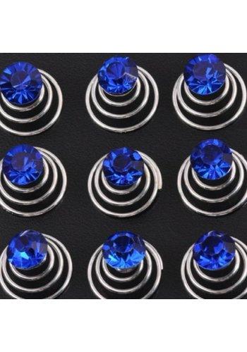 Donker Blauwe Kristal Curlies - 6 stuks