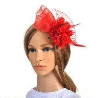 thumb-Chique Rode Fascinator-1