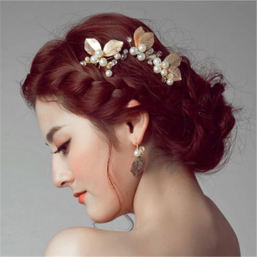 Goudkleurige Hairpin met Ivoorkleurige Parels - 2 Stuks-1