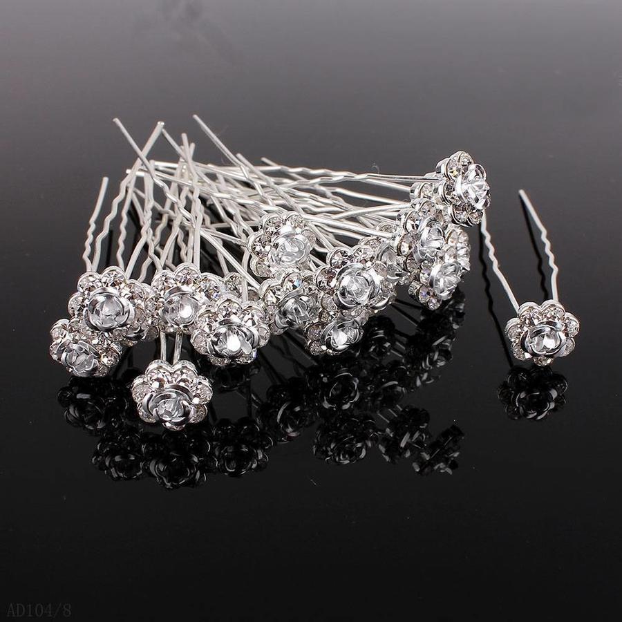 Hairpins – Zilver Grijs Roosje - 5 stuks-3
