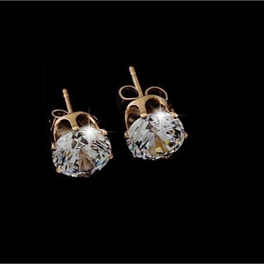 Elegante Goudkleurige Diamanten Oorbellen-2