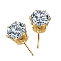 thumb-Elegante Goudkleurige Diamanten Oorbellen-1