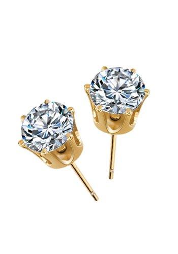 Elegante Goudkleurige Diamanten Oorbellen