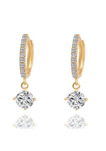 Elegante Goudkleurige Oorringen met Fonkelende Diamant