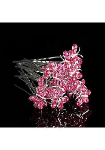 Hairpins – Butterfly - Licht Roze - 5 stuks