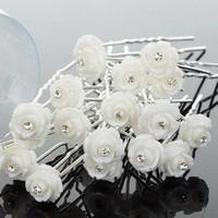 thumb-Hairpins – Ivoorkleurig Roosje met Kristalletje - 5 stuks-4