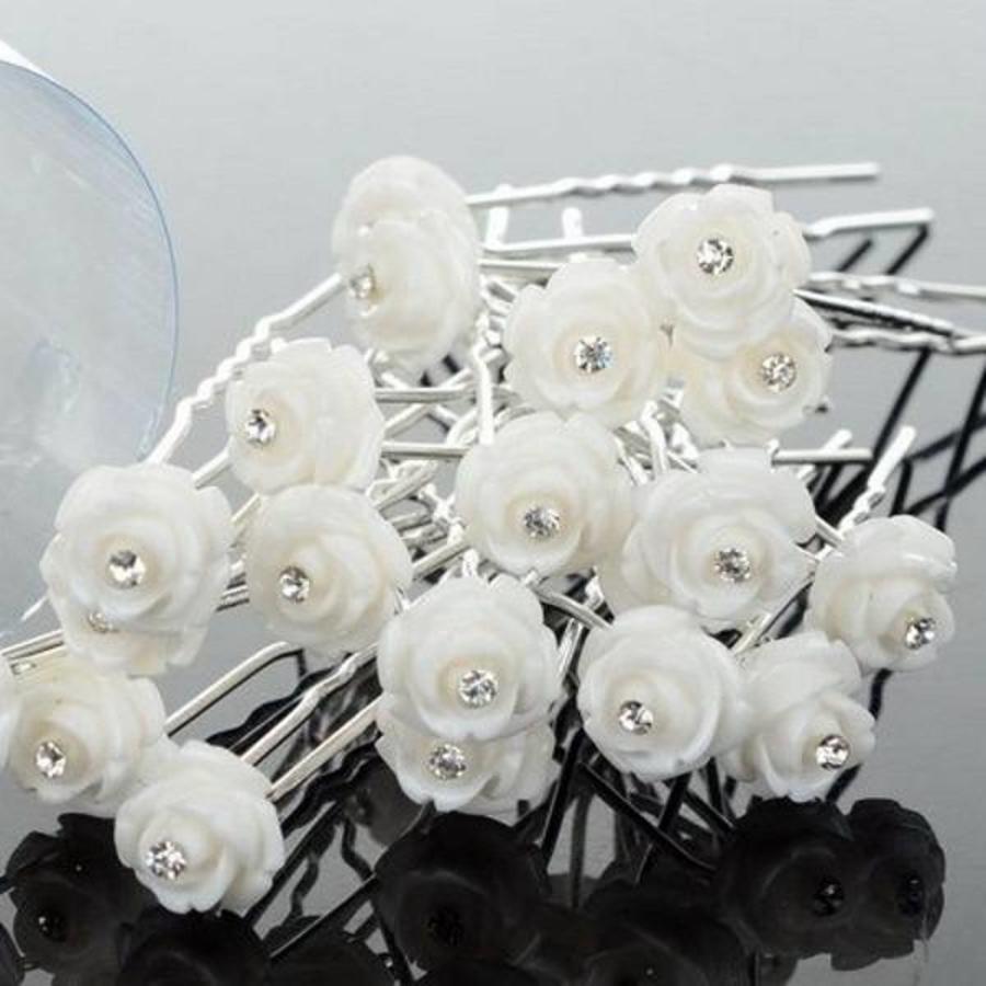 Hairpins – Ivoorkleurig Roosje met Kristalletje - 5 stuks-4