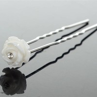 thumb-Hairpins – Ivoorkleurig Roosje met Kristalletje - 5 stuks-5