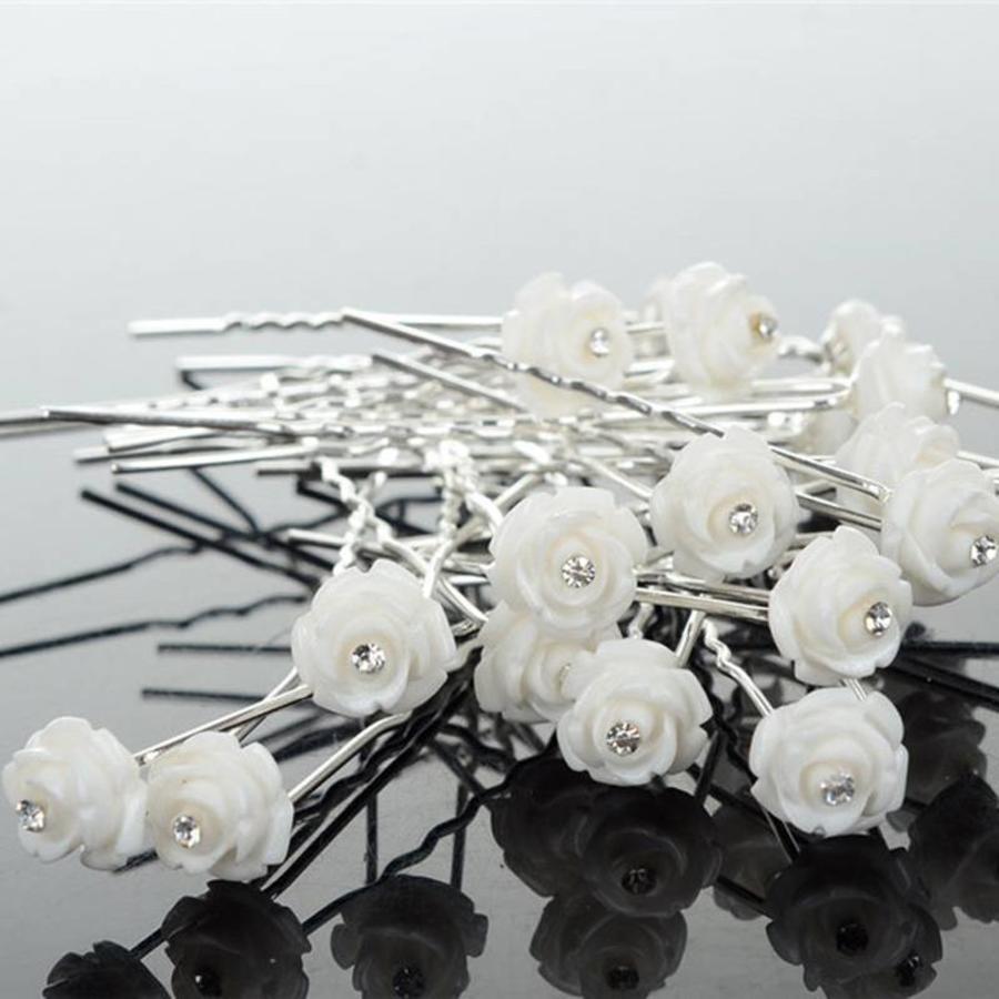 Hairpins – Ivoorkleurig Roosje met Kristalletje - 5 stuks-8