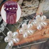 thumb-Hairpins - Bloem met Diamantje- Ivoor - 2 stuks-4