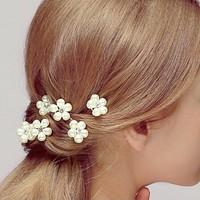 thumb-Hairpins - Bloem met Diamantje- Ivoor - 2 stuks-2