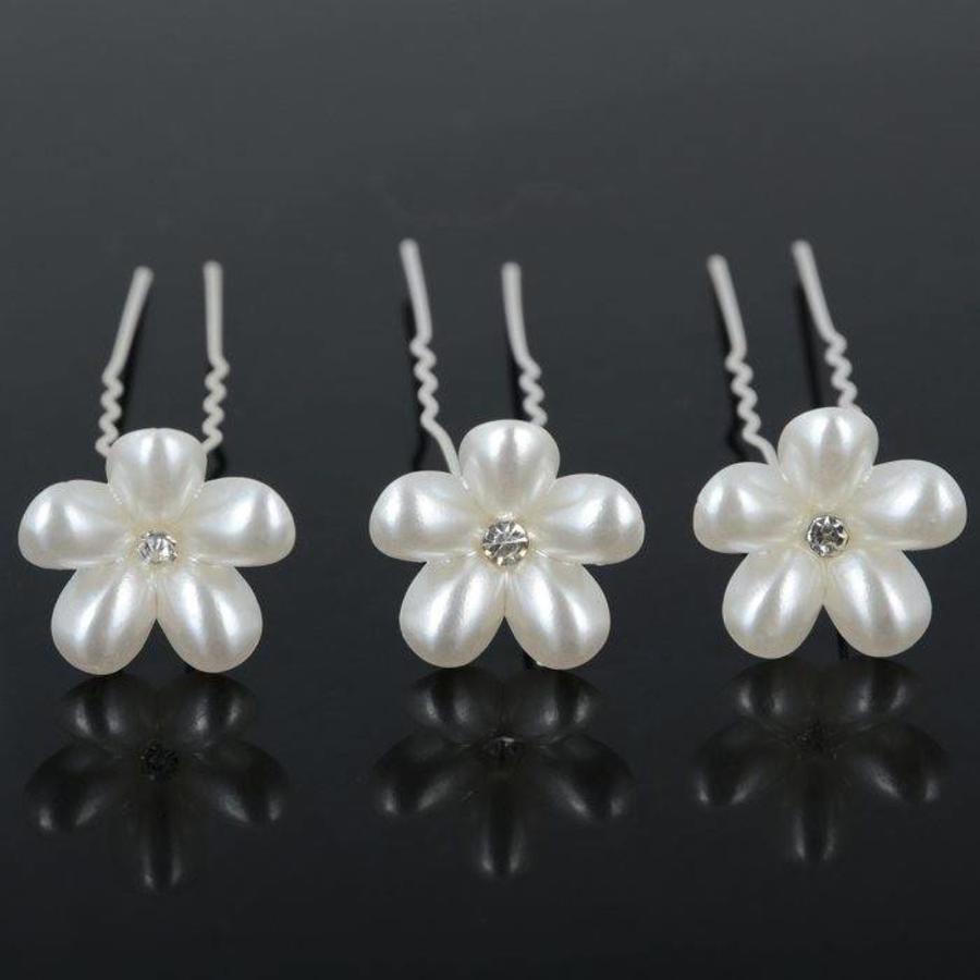 Hairpins - Bloem met Diamantje- Ivoor - 2 stuks-1