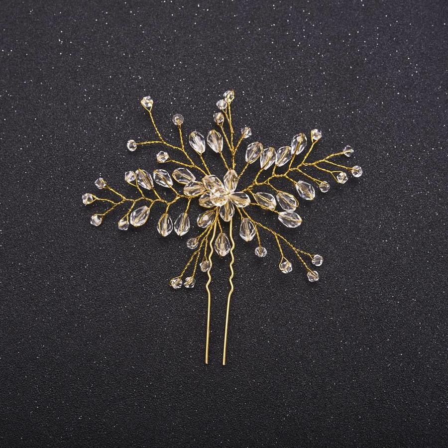Hairpin Goudkleurig met Kristal Kralen-2