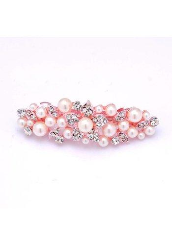 SALE - Rosé Kleurige Haarclip met Parels en Kristallen