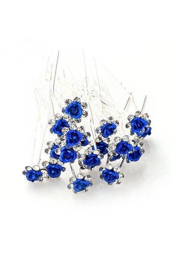 Hairpins – Blauw Roosje - 5 stuks