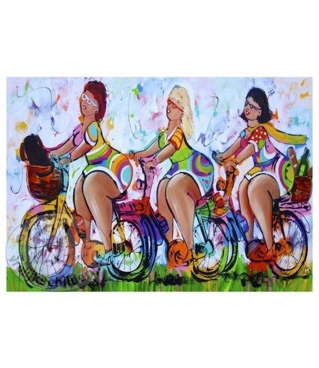Posters Vrolijk Schilderij, dames, fietsen