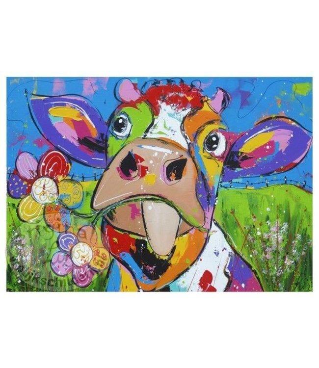 Posters Vrolijk Schilderij, margrieten, koe