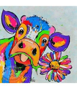 Poster Koe met bloem 50x50