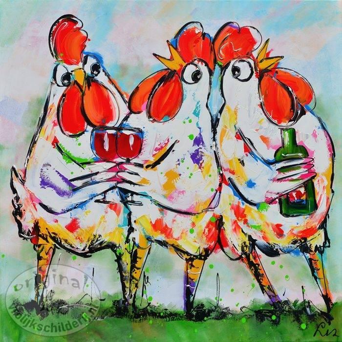 kippen 50x50 vrolijk schilderij