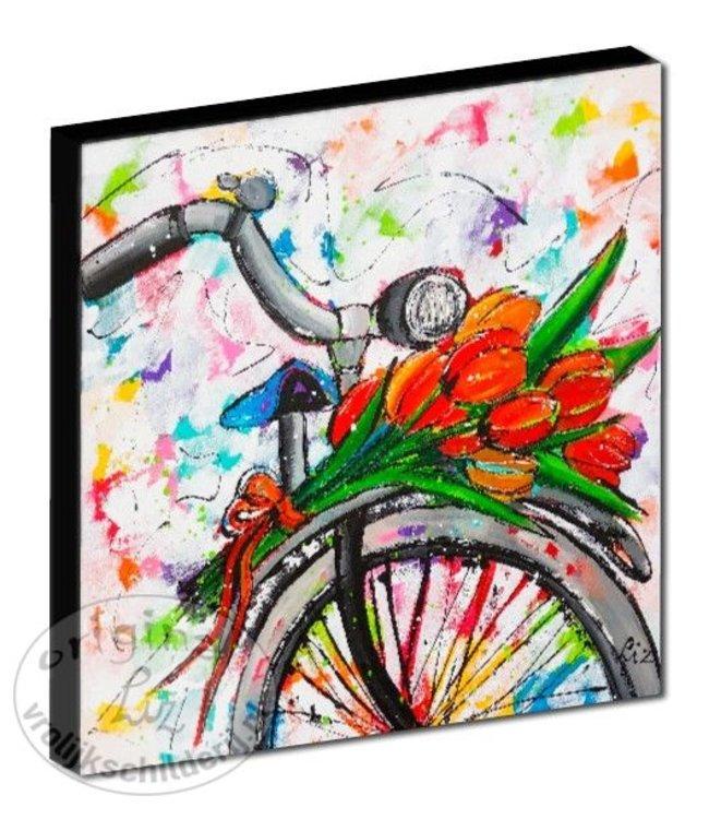 """Kunstdruk 2 cm """"Fiets met tulpen"""" 20 x 20"""