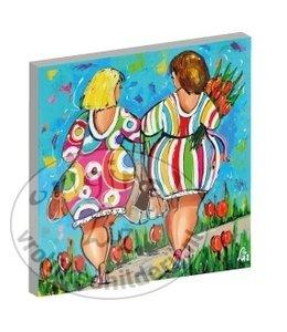 """Kunstdruk 3 cm """" Dames hand in hand """" Vanaf"""