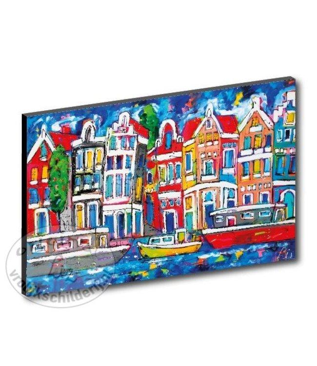 """Kunstdruk 3 cm """"Grachten blauw met boten"""" vanaf"""