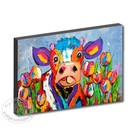 Cow among the tulips from