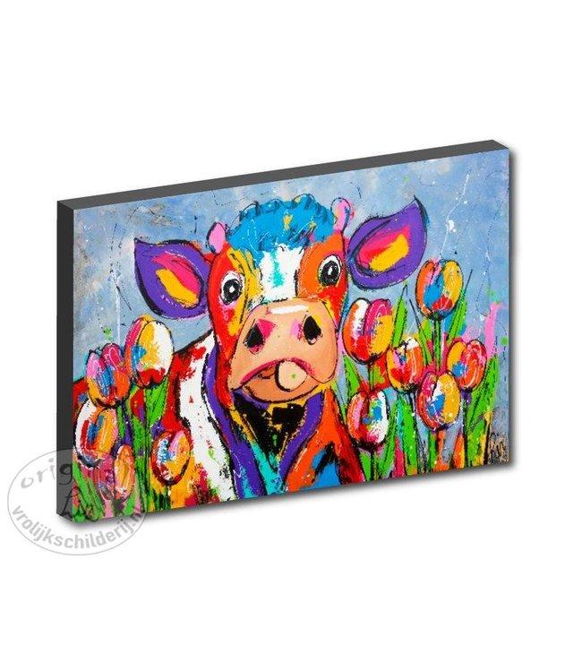 "Kunstdruk 2 cm "" Koe tussen de tulpen "" 120 x 80"