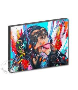 """LoveLiz Kunstdruk 2 cm """" Ondeugende aap """" 120 x 80"""