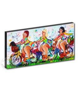 "Kunstdruk 2 cm "" Dames op de fiets "" 120 x 60"